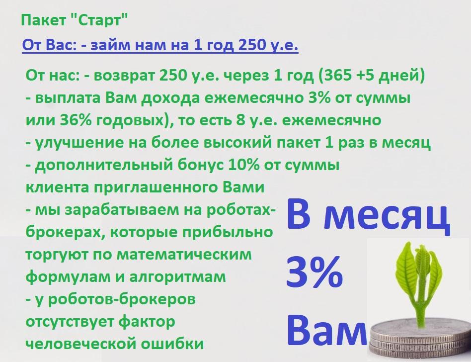 "3% в месяц пассивный доход на Вашу сумму 250 у.е. на 1 год - Пакет ""Старт"""