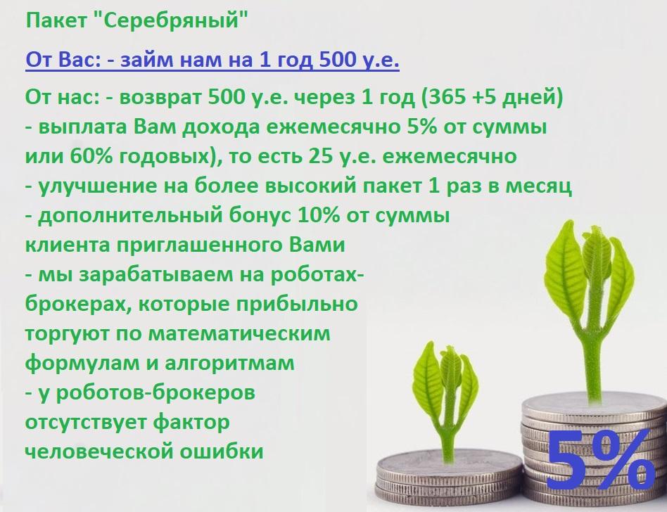 """5% в месяц пассивный доход на Вашу сумму 500 у.е. на 1 год - Пакет """"Серебряный"""""""