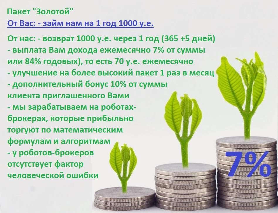 """7% в месяц пассивный доход на Вашу сумму 1000 у.е. на 1 год - Пакет """"Золотой"""""""