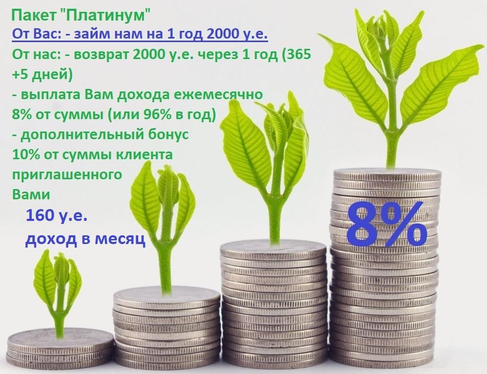 """8% в месяц пассивный доход на Вашу сумму 2000 у.е. на 1 год - Пакет """"Платинум"""""""